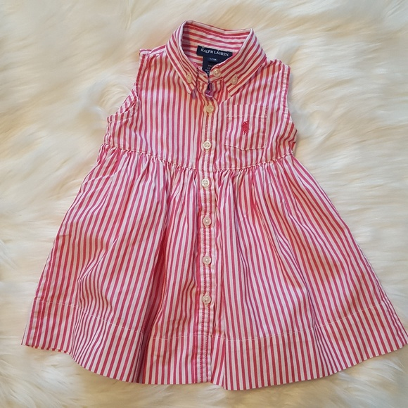 9e8af06928 Ralph Lauren Baby Girl Pink Striped Shirt Dress